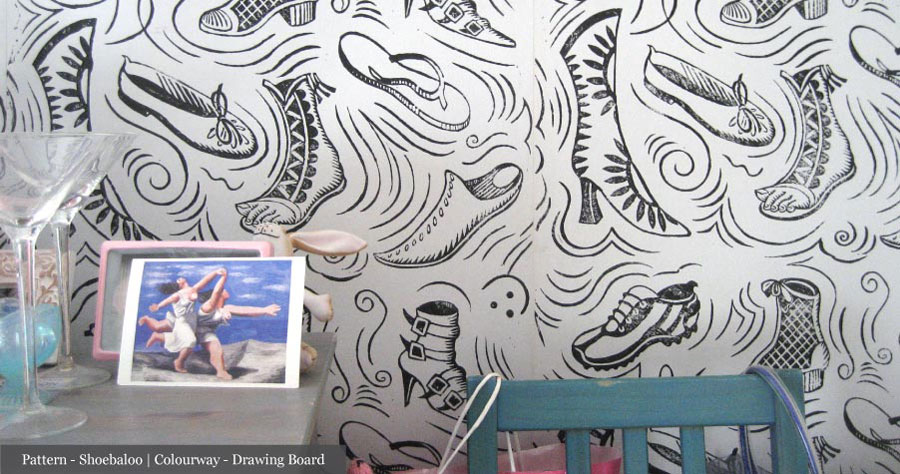 Handmade Wallpaper Pattern - Shoebaloo   Colourway - Drawing Board, by Hugh Dunford Wood