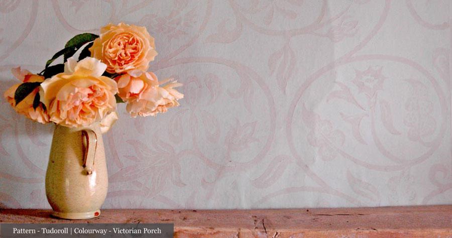Handmade Wallpaper Pattern - Tudoroll   Colourway - Victorian Porch, by Hugh Dunford Wood