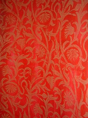 Designs - Cardoon, Colourway Gold on Red, Hugh Dunford Wood