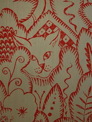 Designs - Rousseau, Fairground Cat Detail, Hugh Dunford Wood